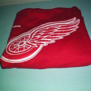 Reebok Detroit Red Wings Red White Jersey Hoodie w